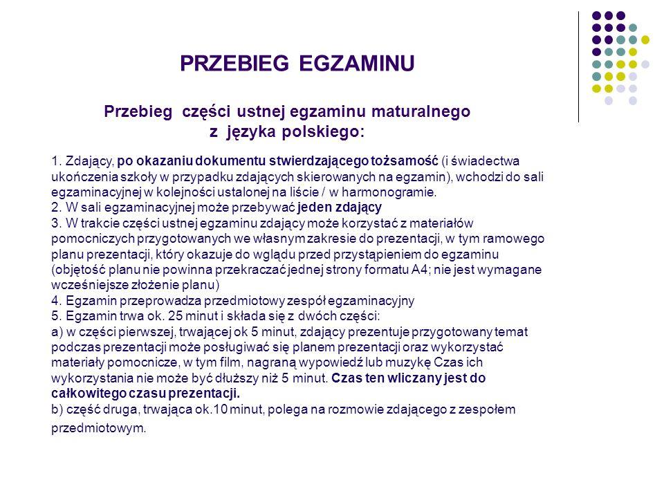 Przebieg części ustnej egzaminu maturalnego z języka polskiego: