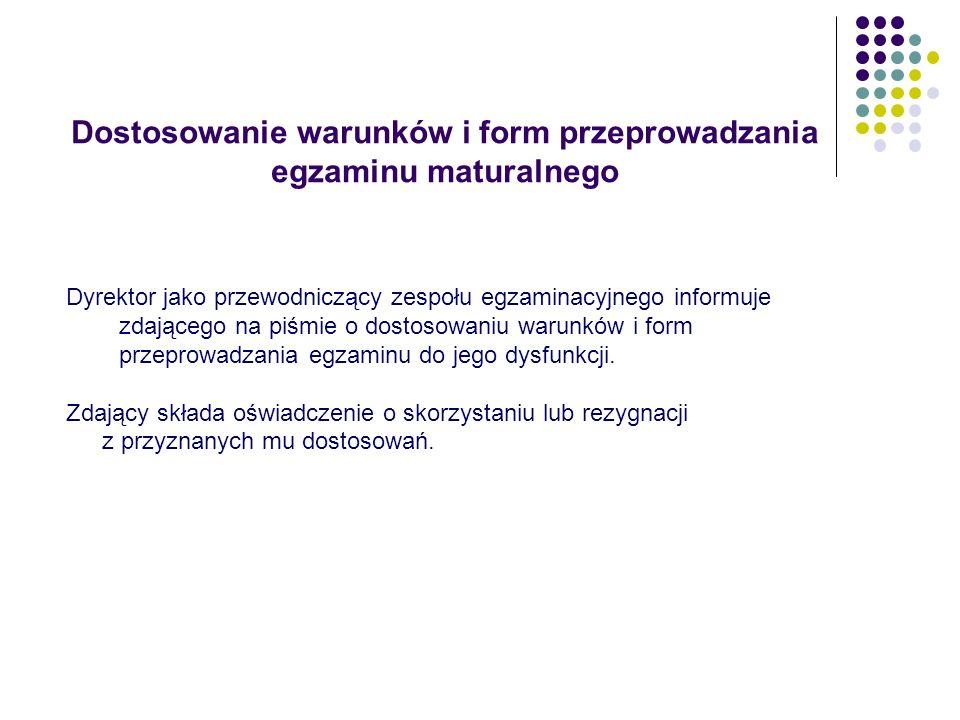 Dostosowanie warunków i form przeprowadzania egzaminu maturalnego