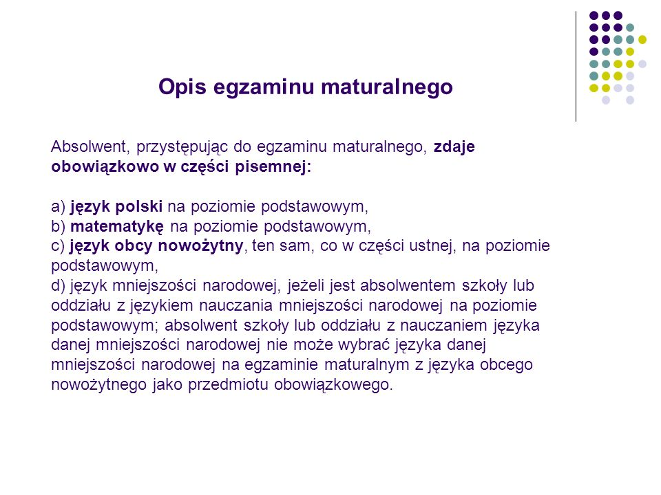 Opis egzaminu maturalnego