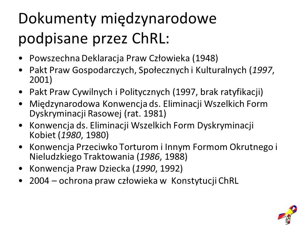 Dokumenty międzynarodowe podpisane przez ChRL: