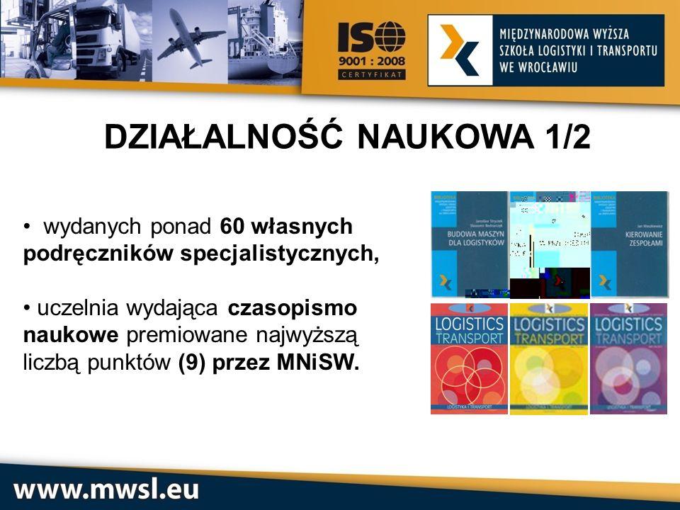 DZIAŁALNOŚĆ NAUKOWA 1/2 wydanych ponad 60 własnych podręczników specjalistycznych, uczelnia wydająca czasopismo.