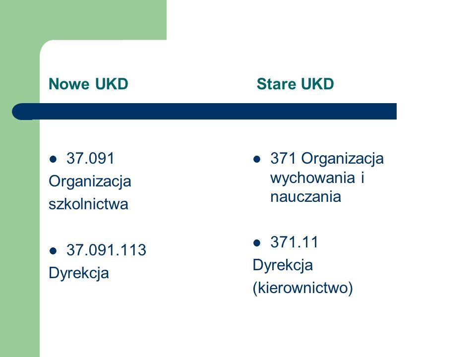 Nowe UKD Stare UKD 37.091. Organizacja. szkolnictwa. 37.091.113. Dyrekcja.