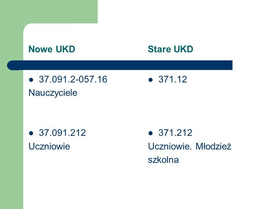 Nowe UKD Stare UKD 37.091.2-057.16. Nauczyciele. 37.091.212. Uczniowie.