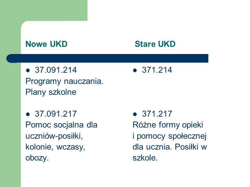 Nowe UKD Stare UKD 37.091.214. Programy nauczania. Plany szkolne. 37.091.217.