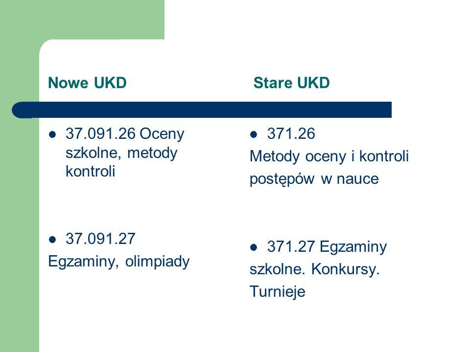 Nowe UKD Stare UKD 37.091.26 Oceny szkolne, metody kontroli. 37.091.27.