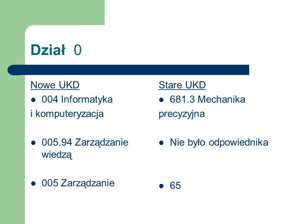 Dział 0 Nowe UKD 004 Informatyka i komputeryzacja
