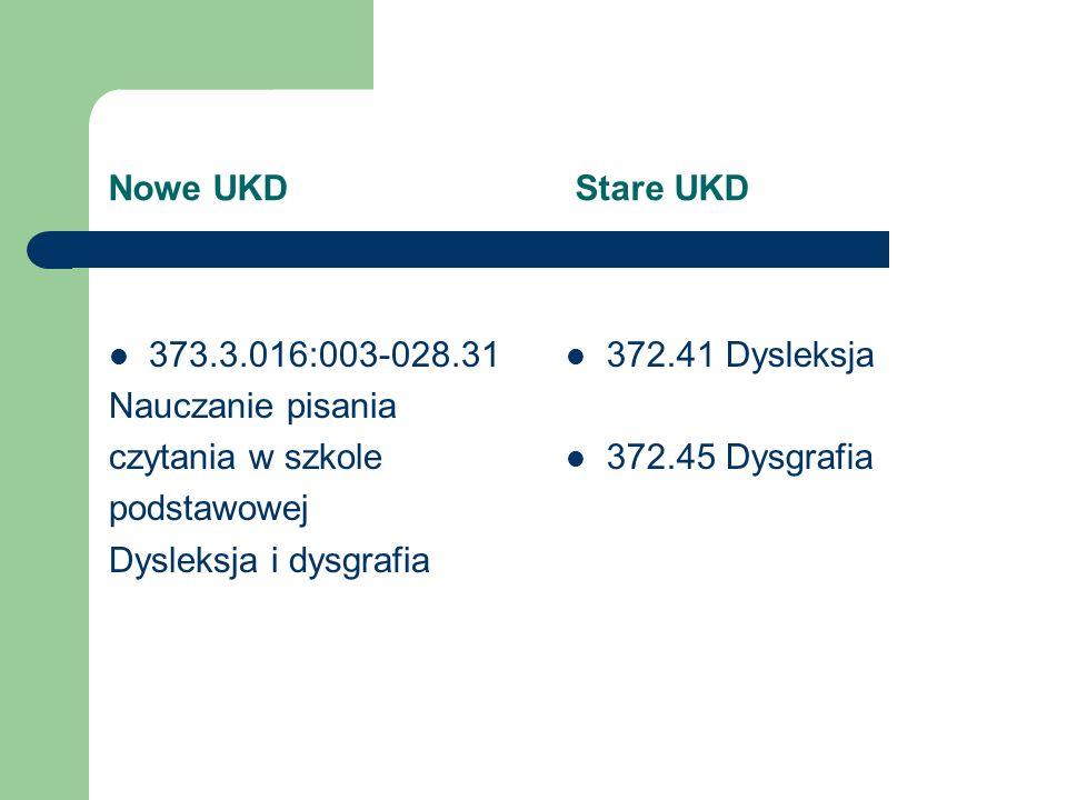 Nowe UKD Stare UKD 373.3.016:003-028.31. Nauczanie pisania. czytania w szkole.