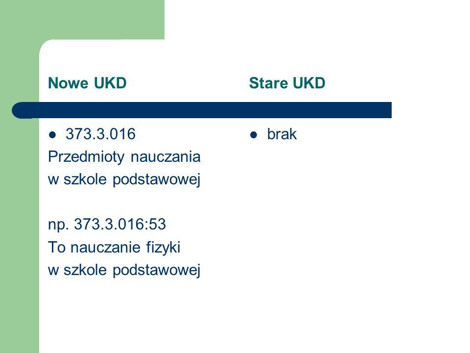Nowe UKD Stare UKD 373.3.016. Przedmioty nauczania. w szkole podstawowej.