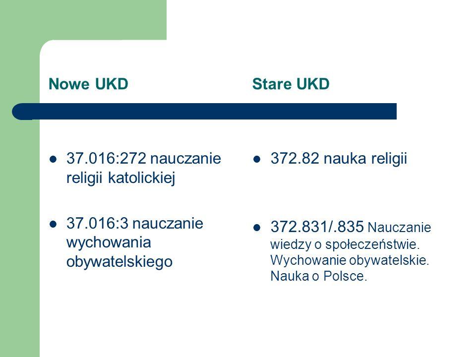 Nowe UKD Stare UKD 37.016:272 nauczanie religii katolickiej. 37.016:3 nauczanie wychowania obywatelskiego.