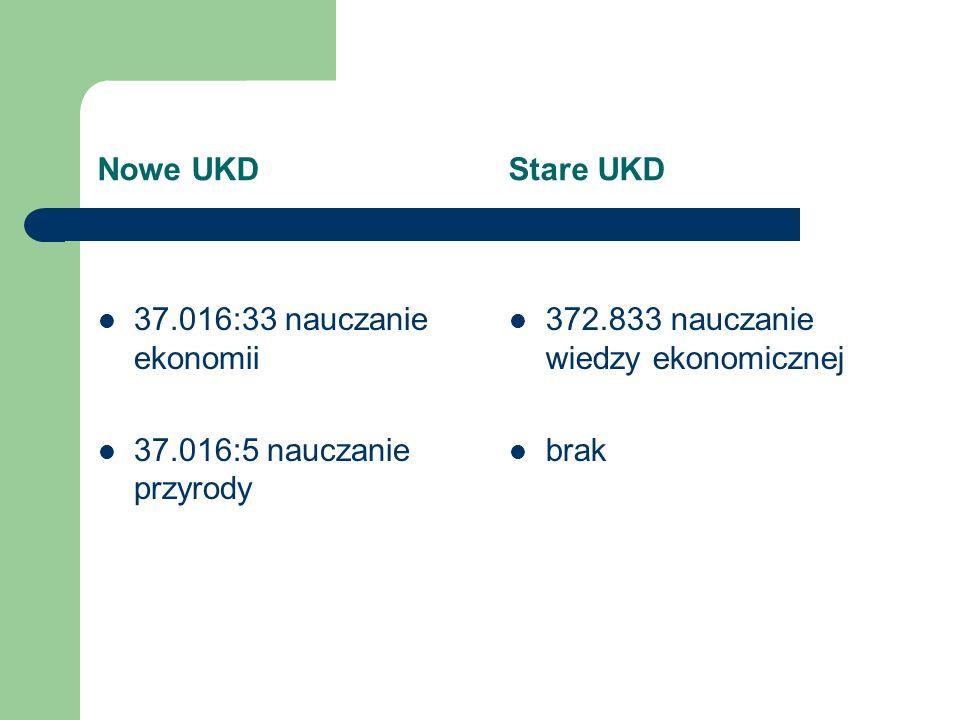 Nowe UKD Stare UKD 37.016:33 nauczanie ekonomii. 37.016:5 nauczanie przyrody.