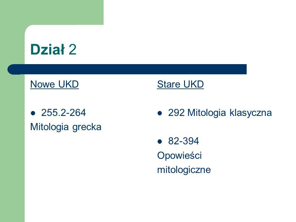 Dział 2 Nowe UKD 255.2-264 Mitologia grecka Stare UKD