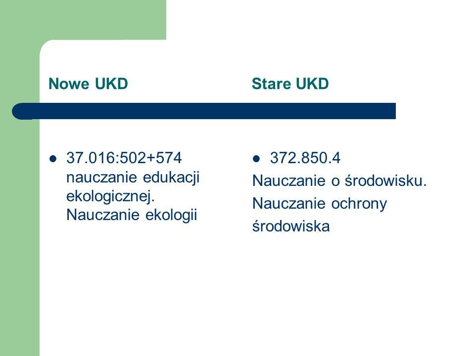 Nowe UKD Stare UKD 37.016:502+574 nauczanie edukacji ekologicznej. Nauczanie ekologii.