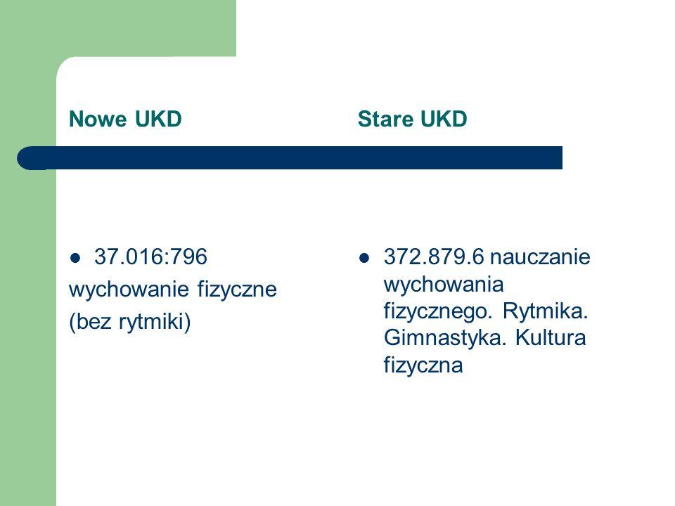 Nowe UKD Stare UKD 37.016:796. wychowanie fizyczne. (bez rytmiki)