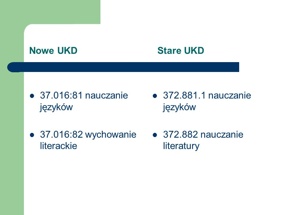 Nowe UKD Stare UKD 37.016:81 nauczanie języków. 37.016:82 wychowanie literackie.