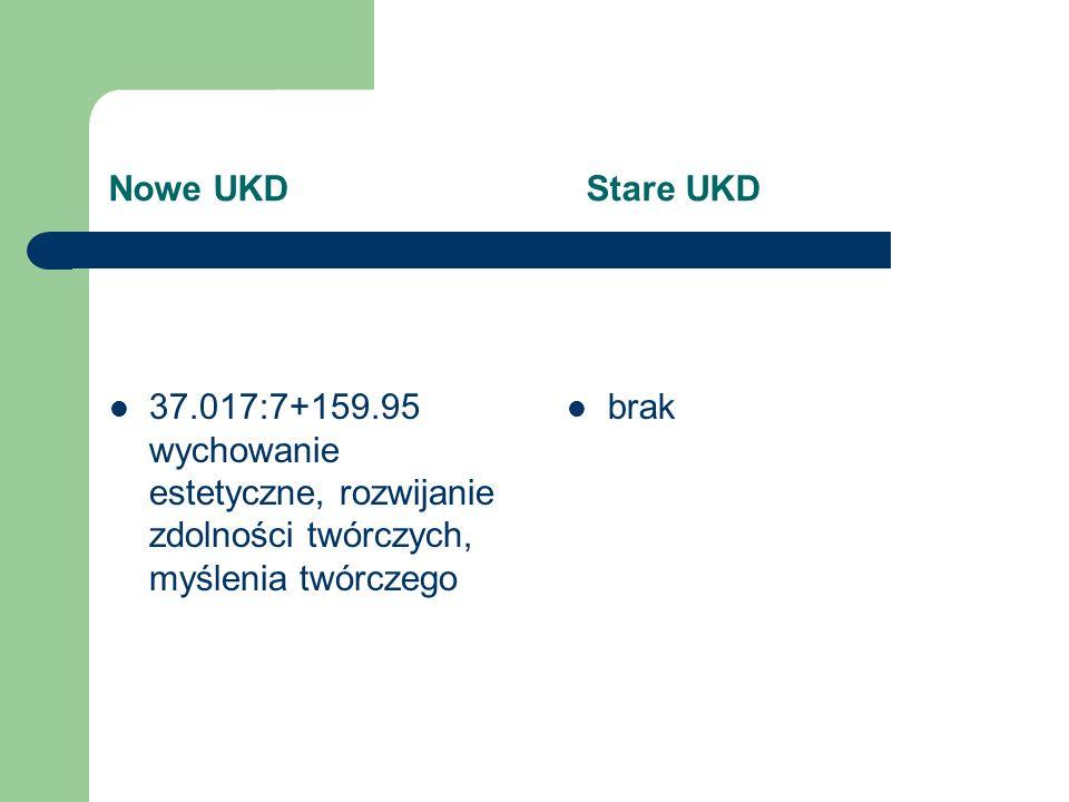 Nowe UKD Stare UKD 37.017:7+159.95 wychowanie estetyczne, rozwijanie zdolności twórczych, myślenia twórczego.