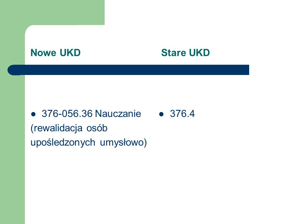 Nowe UKD Stare UKD 376-056.36 Nauczanie. (rewalidacja osób. upośledzonych umysłowo)