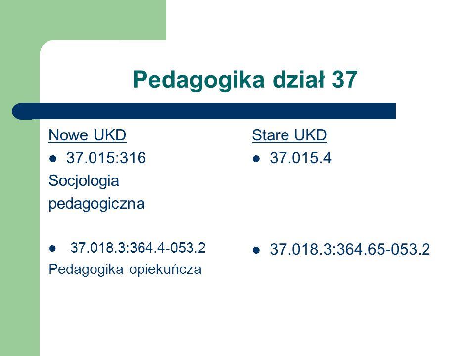 Pedagogika dział 37 Nowe UKD 37.015:316 Socjologia pedagogiczna