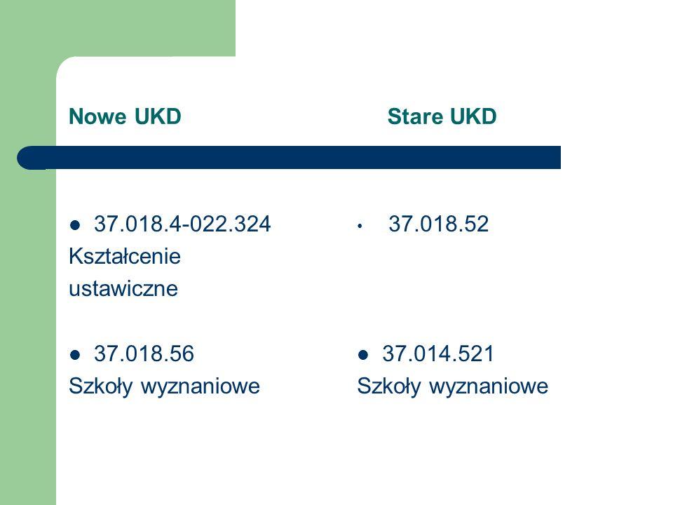 Nowe UKD Stare UKD 37.018.4-022.324. Kształcenie. ustawiczne. 37.018.56.
