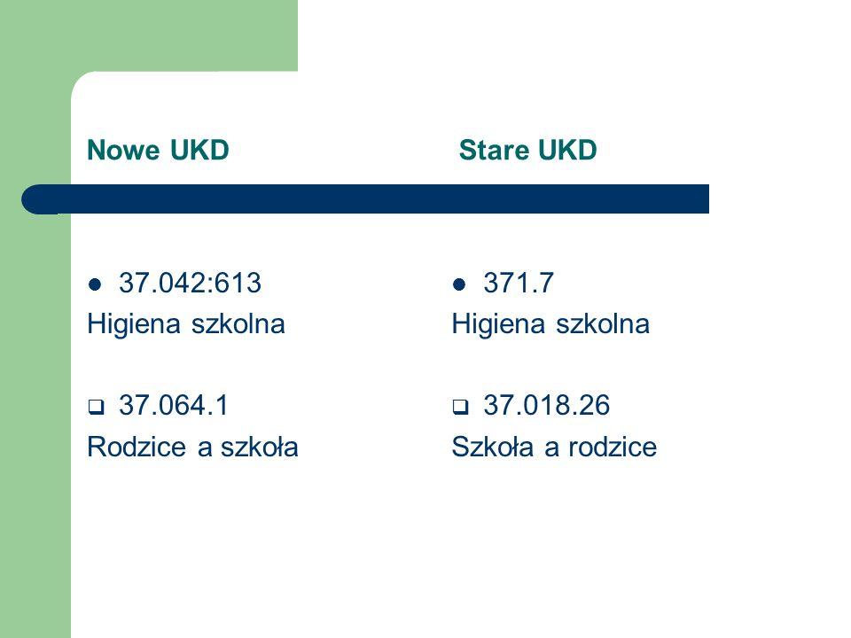 Nowe UKD Stare UKD 37.042:613. Higiena szkolna. 37.064.1. Rodzice a szkoła.