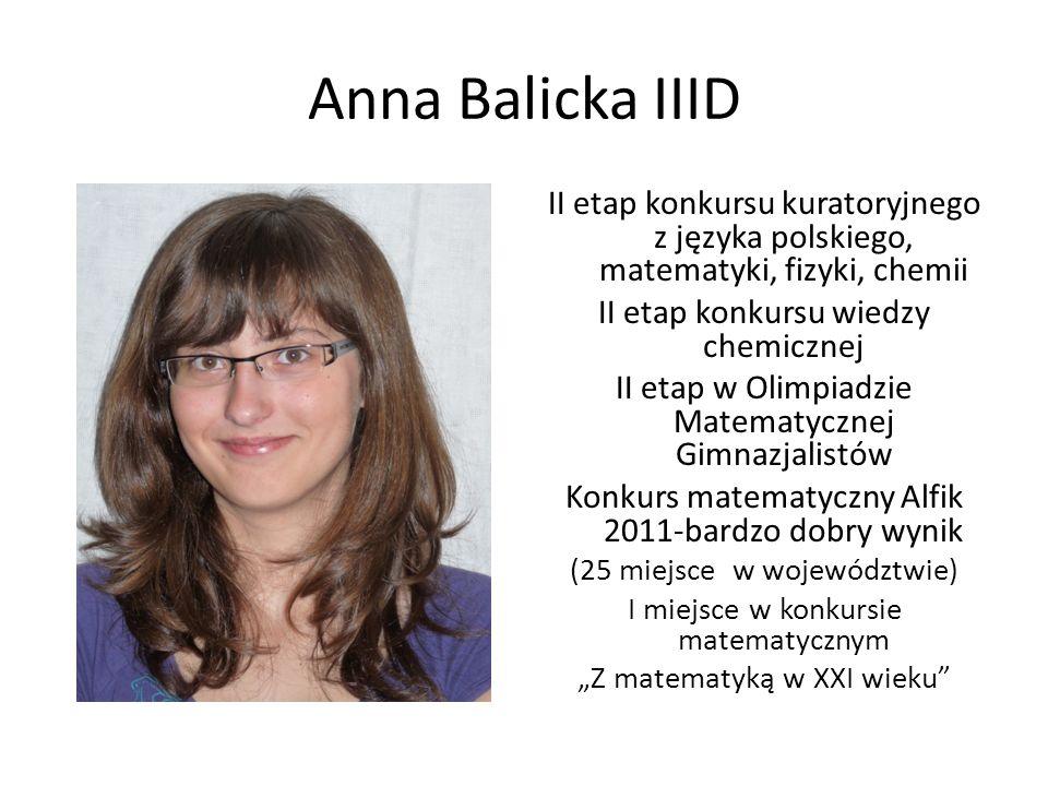 Anna Balicka IIID II etap konkursu kuratoryjnego z języka polskiego, matematyki, fizyki, chemii. II etap konkursu wiedzy chemicznej.