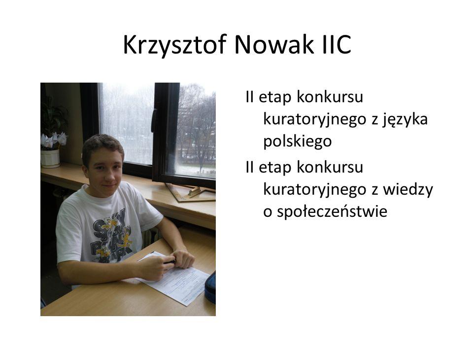 Krzysztof Nowak IIC II etap konkursu kuratoryjnego z języka polskiego II etap konkursu kuratoryjnego z wiedzy o społeczeństwie