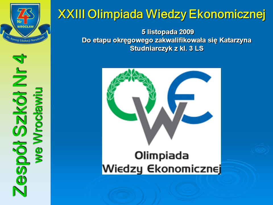 XXIII Olimpiada Wiedzy Ekonomicznej Zespół Szkół Nr 4 we Wrocławiu