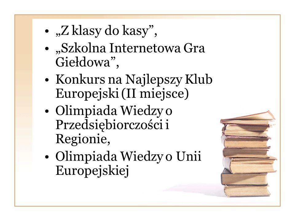 """""""Z klasy do kasy , """"Szkolna Internetowa Gra Giełdowa , Konkurs na Najlepszy Klub Europejski (II miejsce)"""