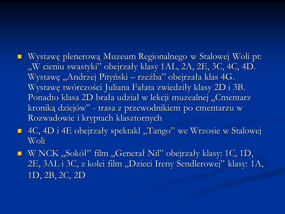 """Wystawę plenerową Muzeum Regionalnego w Stalowej Woli pt: """"W cieniu swastyki obejrzały klasy 1AL, 2A, 2E, 3C, 4C, 4D. Wystawę """"Andrzej Pityński – rzeźba obejrzała klas 4G. Wystawę twórczości Juliana Fałata zwiedziły klasy 2D i 3B. Ponadto klasa 2D brała udział w lekcji muzealnej """"Cmentarz kroniką dziejów - trasa z przewodnikiem po cmentarzu w Rozwadowie i kryptach klasztornych"""