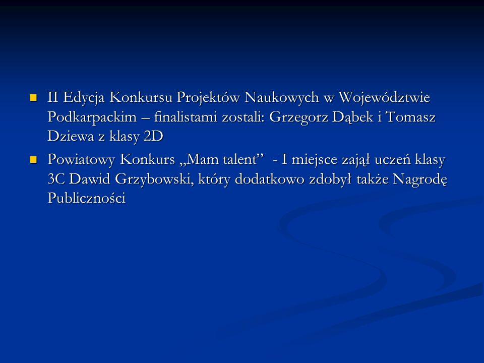 II Edycja Konkursu Projektów Naukowych w Województwie Podkarpackim – finalistami zostali: Grzegorz Dąbek i Tomasz Dziewa z klasy 2D