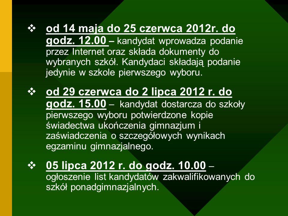 od 14 maja do 25 czerwca 2012r. do godz. 12