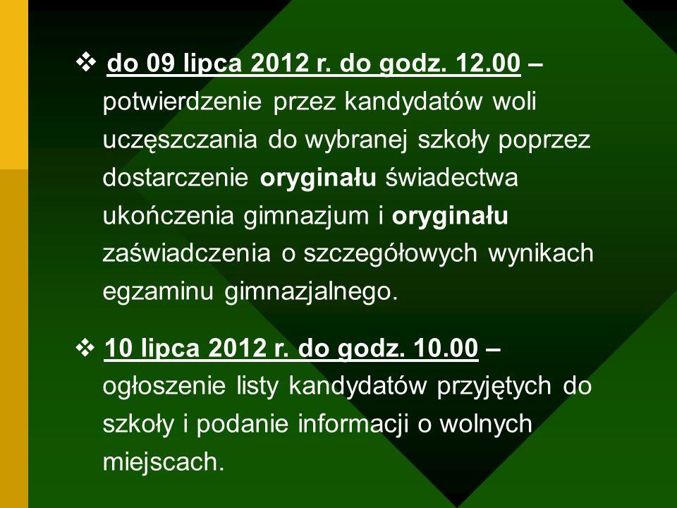 do 09 lipca 2012 r. do godz. 12.00 – potwierdzenie przez kandydatów woli. uczęszczania do wybranej szkoły poprzez.