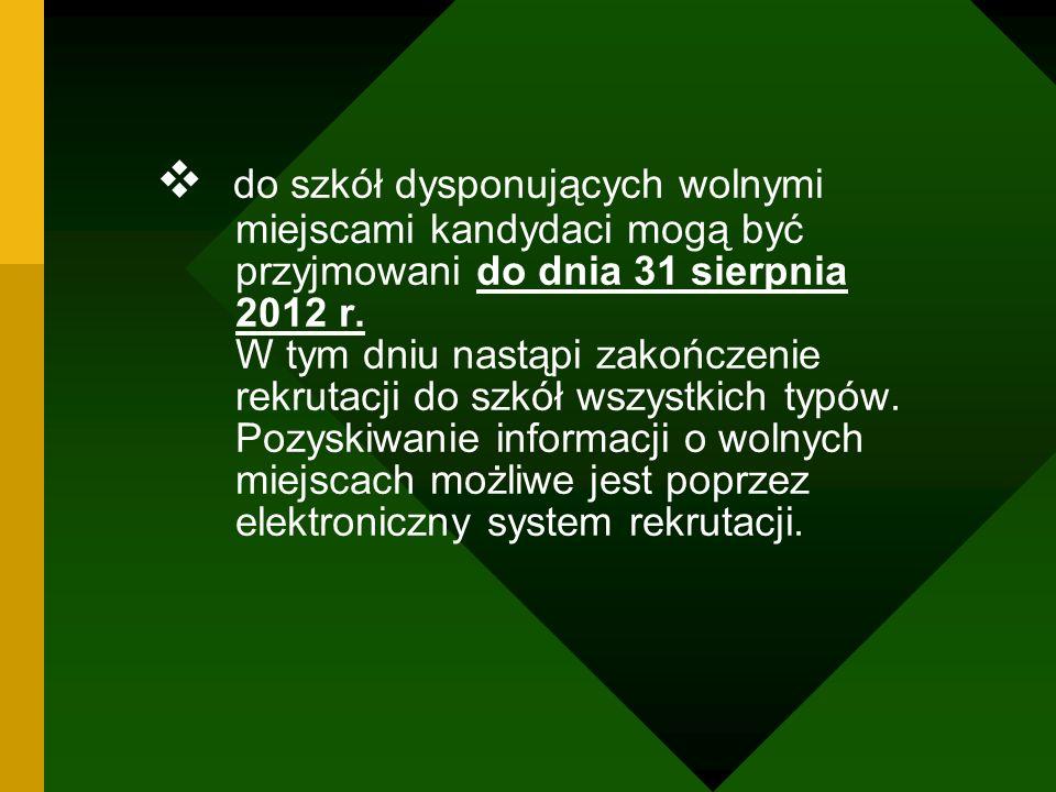 do szkół dysponujących wolnymi miejscami kandydaci mogą być przyjmowani do dnia 31 sierpnia 2012 r.