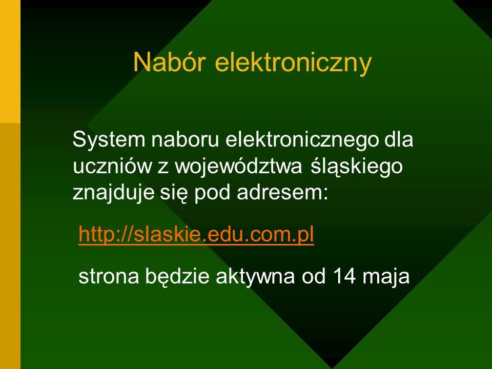 Nabór elektroniczny System naboru elektronicznego dla uczniów z województwa śląskiego znajduje się pod adresem: