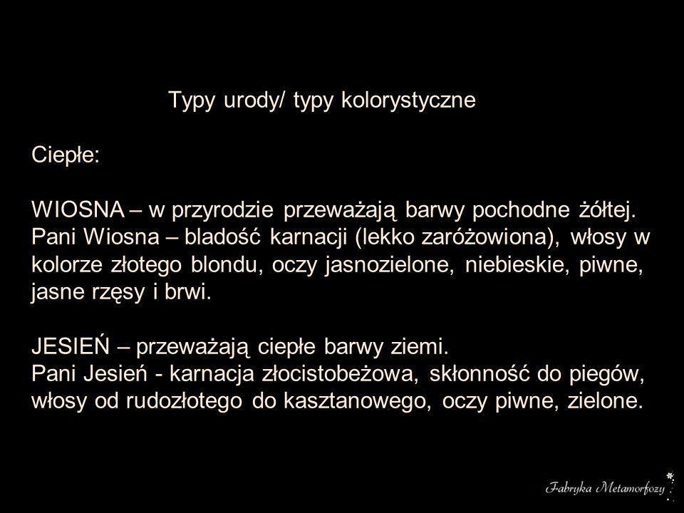 Typy urody/ typy kolorystyczne Ciepłe: