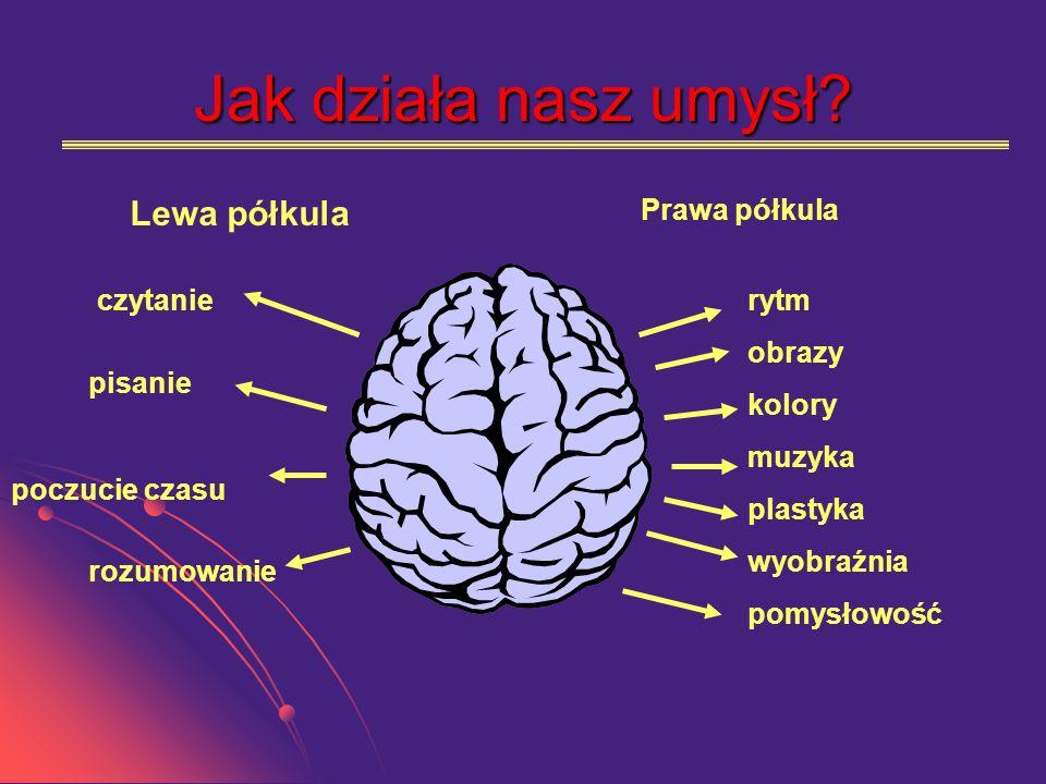 Jak działa nasz umysł Lewa półkula Prawa półkula czytanie rytm obrazy