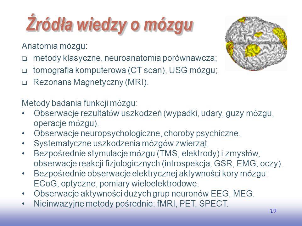 Źródła wiedzy o mózgu Anatomia mózgu: