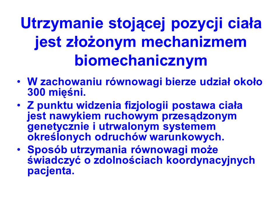 Utrzymanie stojącej pozycji ciała jest złożonym mechanizmem biomechanicznym