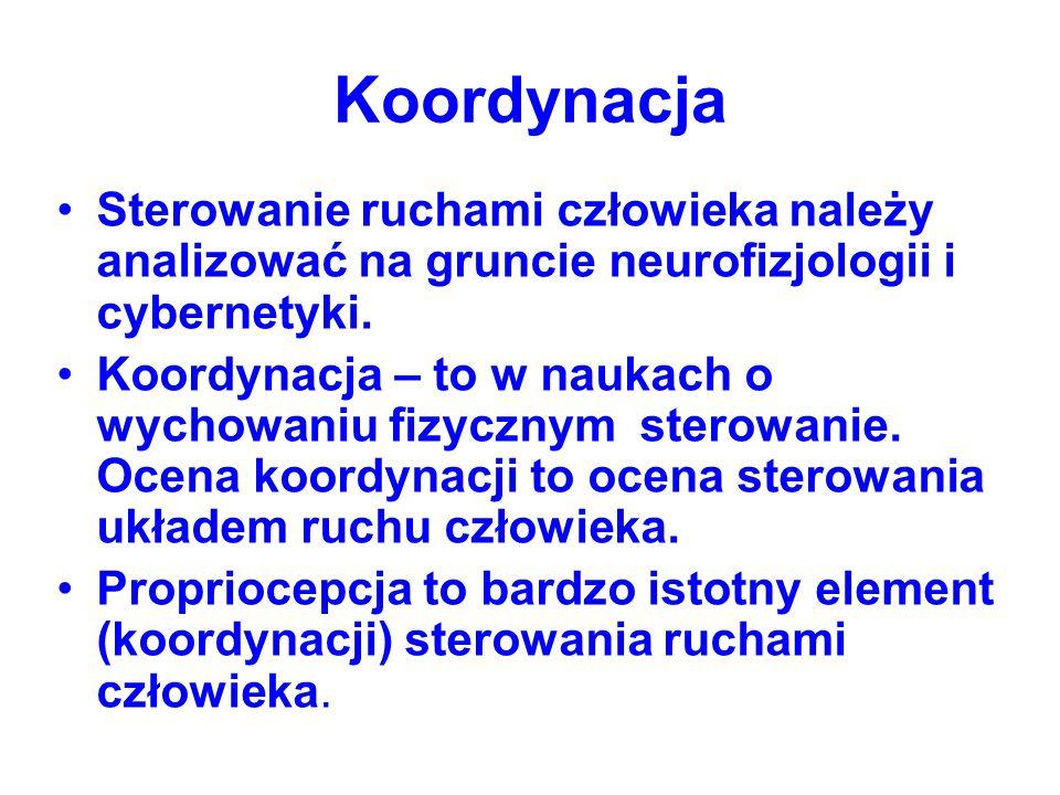 Koordynacja Sterowanie ruchami człowieka należy analizować na gruncie neurofizjologii i cybernetyki.