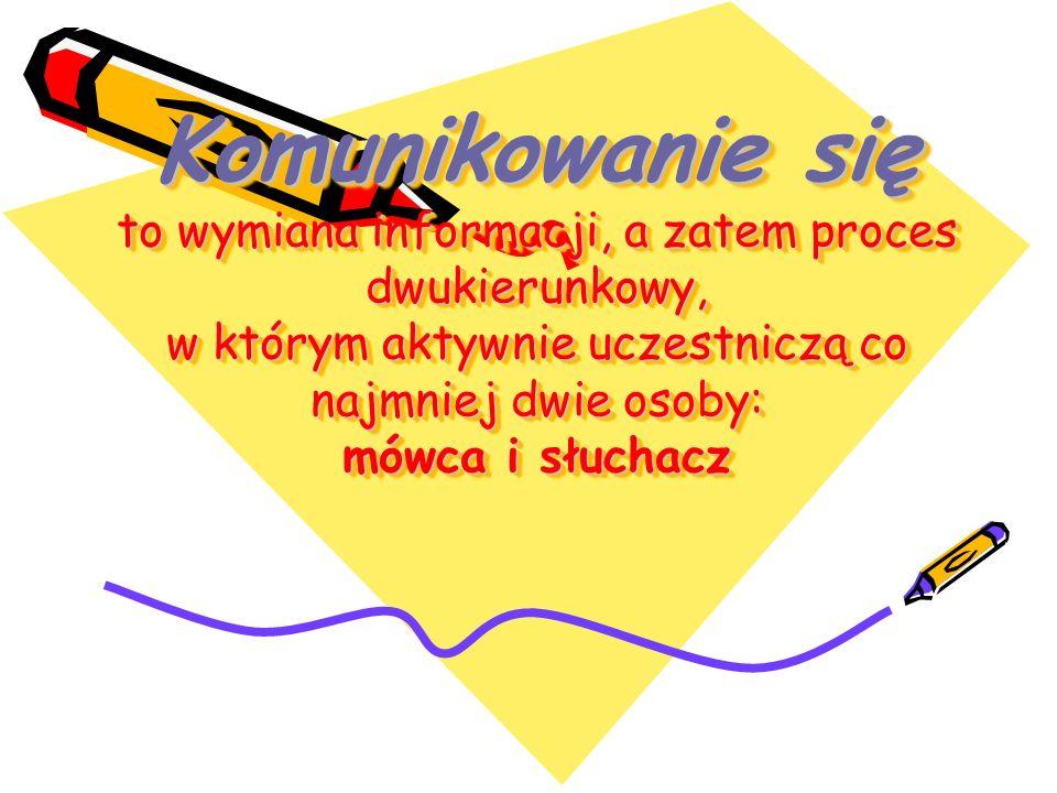 Komunikowanie się to wymiana informacji, a zatem proces dwukierunkowy, w którym aktywnie uczestniczą co najmniej dwie osoby: mówca i słuchacz