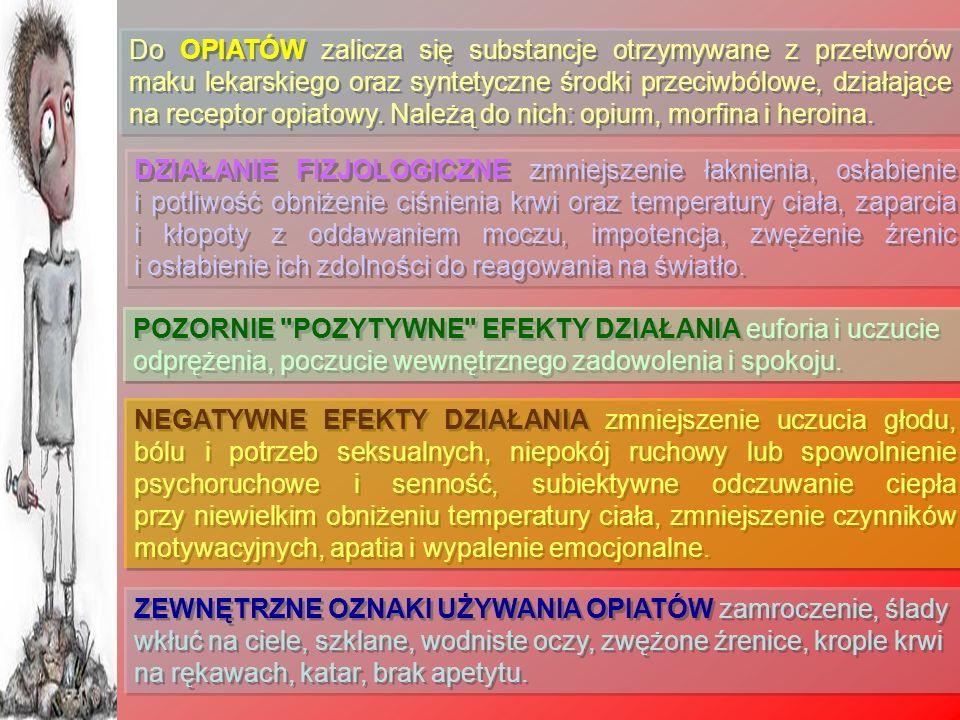Do OPIATÓW zalicza się substancje otrzymywane z przetworów maku lekarskiego oraz syntetyczne środki przeciwbólowe, działające na receptor opiatowy. Należą do nich: opium, morfina i heroina.