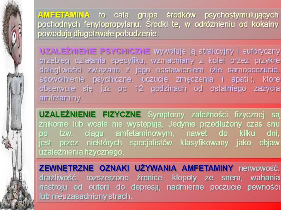 AMFETAMINA to cała grupa środków psychostymulujących pochodnych fenylopropylanu. Środki te, w odróżnieniu od kokainy powodują długotrwałe pobudzenie.