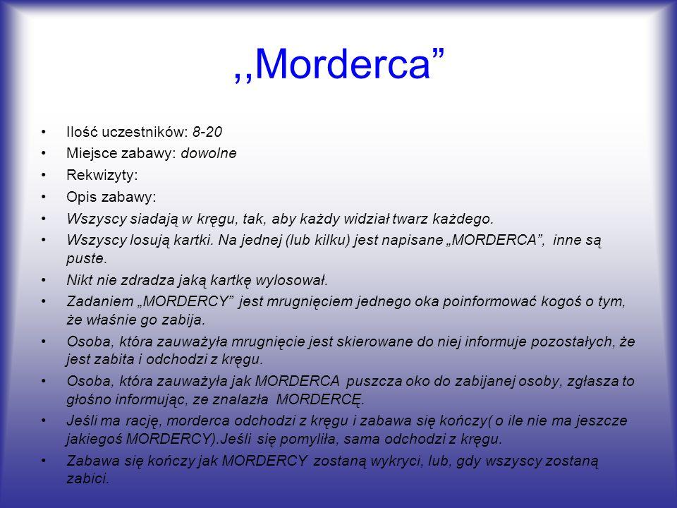 ,,Morderca Ilość uczestników: 8-20 Miejsce zabawy: dowolne Rekwizyty: