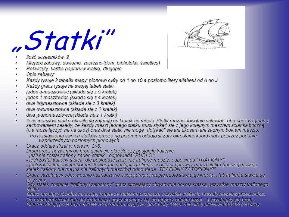 """""""Statki'' Ilość uczestników: 2"""