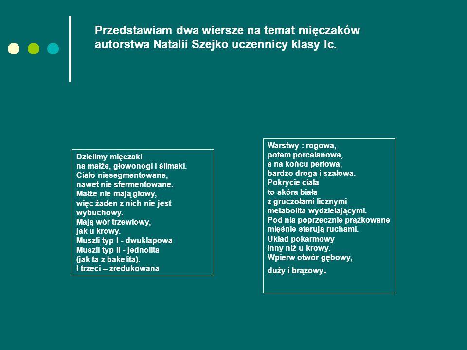 Przedstawiam dwa wiersze na temat mięczaków autorstwa Natalii Szejko uczennicy klasy Ic.