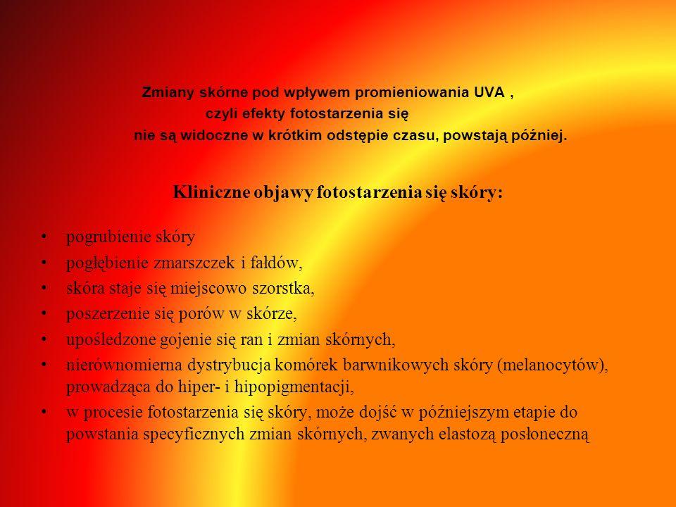 Kliniczne objawy fotostarzenia się skóry: