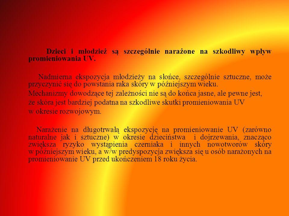Dzieci i młodzież są szczególnie narażone na szkodliwy wpływ promieniowania UV.