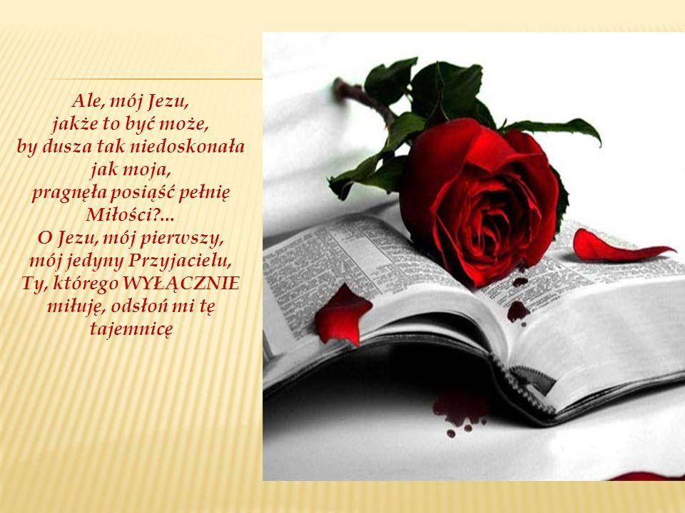 Ale, mój Jezu, jakże to być może, by dusza tak niedoskonała jak moja, pragnęła posiąść pełnię Miłości ...