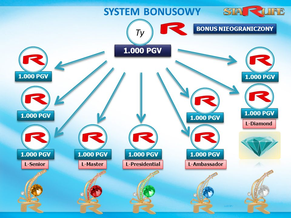 SYSTEM BONUSOWY Ty 1.000 PGV 2.000 PGV BONUS NIEOGRANICZONY 1.000 PGV