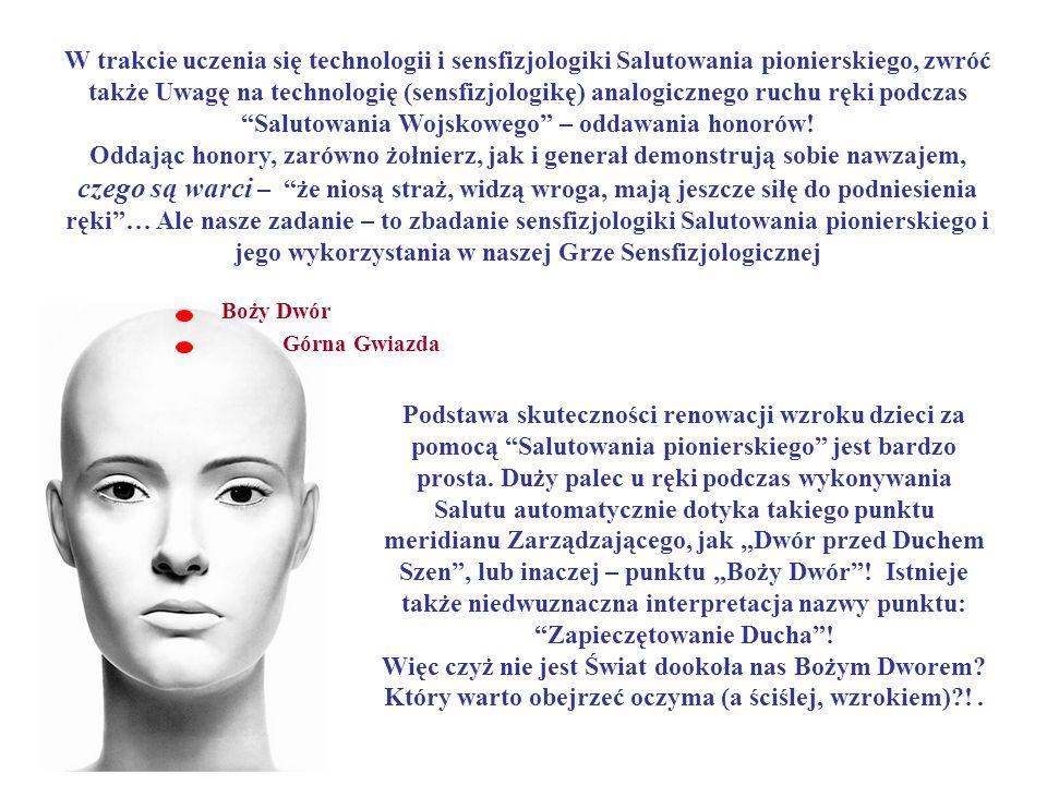 W trakcie uczenia się technologii i sensfizjologiki Salutowania pionierskiego, zwróć także Uwagę na technologię (sensfizjologikę) analogicznego ruchu ręki podczas Salutowania Wojskowego – oddawania honorów!