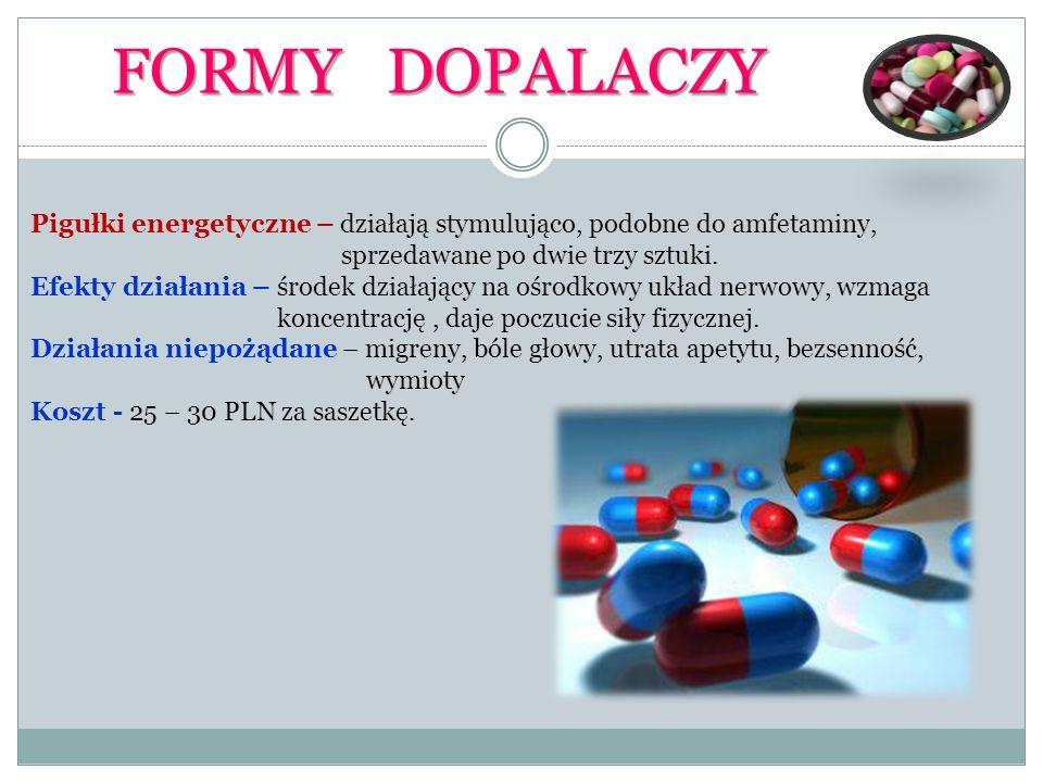 FORMY DOPALACZYPigułki energetyczne – działają stymulująco, podobne do amfetaminy, sprzedawane po dwie trzy sztuki.